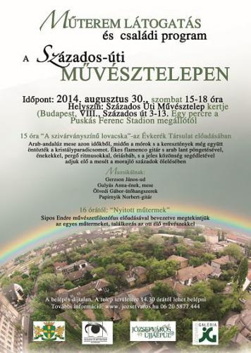 Műterem látogatás és családi program a Százados Úti Művésztelepen, plakát