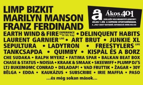 Limp Bizkit, Franz Ferdinand és Marilyn Manson a VOLT-on